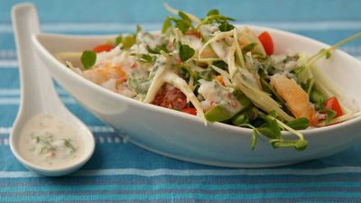 "<a href=""http://kitchen.nine.com.au/2016/12/13/13/20/crab-and-green-mango-salad"" target=""_top"">Crab and green mango salad</a><br /> <br /> <a href=""http://kitchen.nine.com.au/2016/12/13/15/58/choosing-the-best-seafood-for-christmas"" target=""_top"">RELATED: How to choose the best seafood for Christmas</a>"