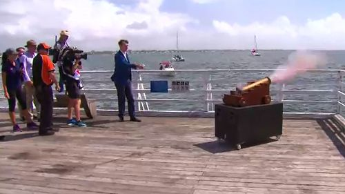 The blast of a cannon launched the Brisbane to Gladstone yacht race.