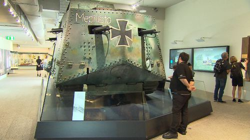 The exhibition's centrepiece, a A7V Sturmpanzerwagen known as Mephisto, was recovered from an area close to Villers-Bretonneux by Queensland soldiers.