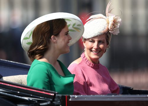 The Countess of Wessex and Princess Eugenie leave Buckingham Palace, central London on their way to Horse Guards Parade.