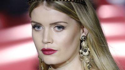 Lady Kitty Spencer walks the runway for Dolce and Gabbana during Milan Fashion Week, September 2017