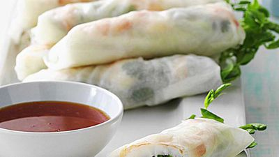 "<strong><a href=""http://kitchen.nine.com.au/2016/05/18/00/10/fresh-prawn-spring-rolls"" target=""_top"">Fresh prawn spring rolls</a> recipe</strong>"