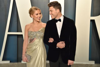 Scarlett Johansson and Colin Jost attend the 2020 Vanity Fair Oscar Party at Wallis Annenberg Center for the Performing Arts on February 09, 2020 in Beverly Hills, California.