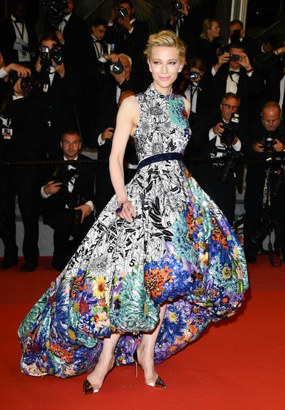 Cate Blanchett wearing Mary Katrantzou at the screening of <em>Cold War</em> at the 71st annual Cannes Film Festival in Cannes, France, May, 2018