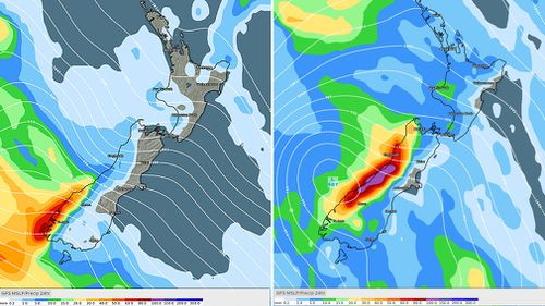 A spate of heavy rainfall is expected to hit New Zealand's south island on Sunday (left) and Monday (Right) (Weatherzone).