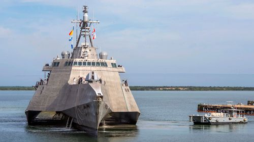 The USS Omaha (LCS 12), a 218-foot-long littoral combat ship.