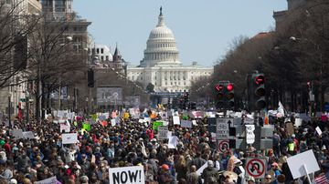Thousands of people attend the March For Our Lives on Pennsylvania Avenue in Washington, DC. (EPA)