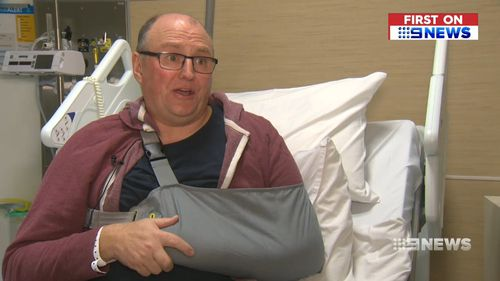 """Mr Baker says """"they left me for dead,"""" suffering a broken collarbone and a dislocated shoulder. Picture: 9NEWS"""