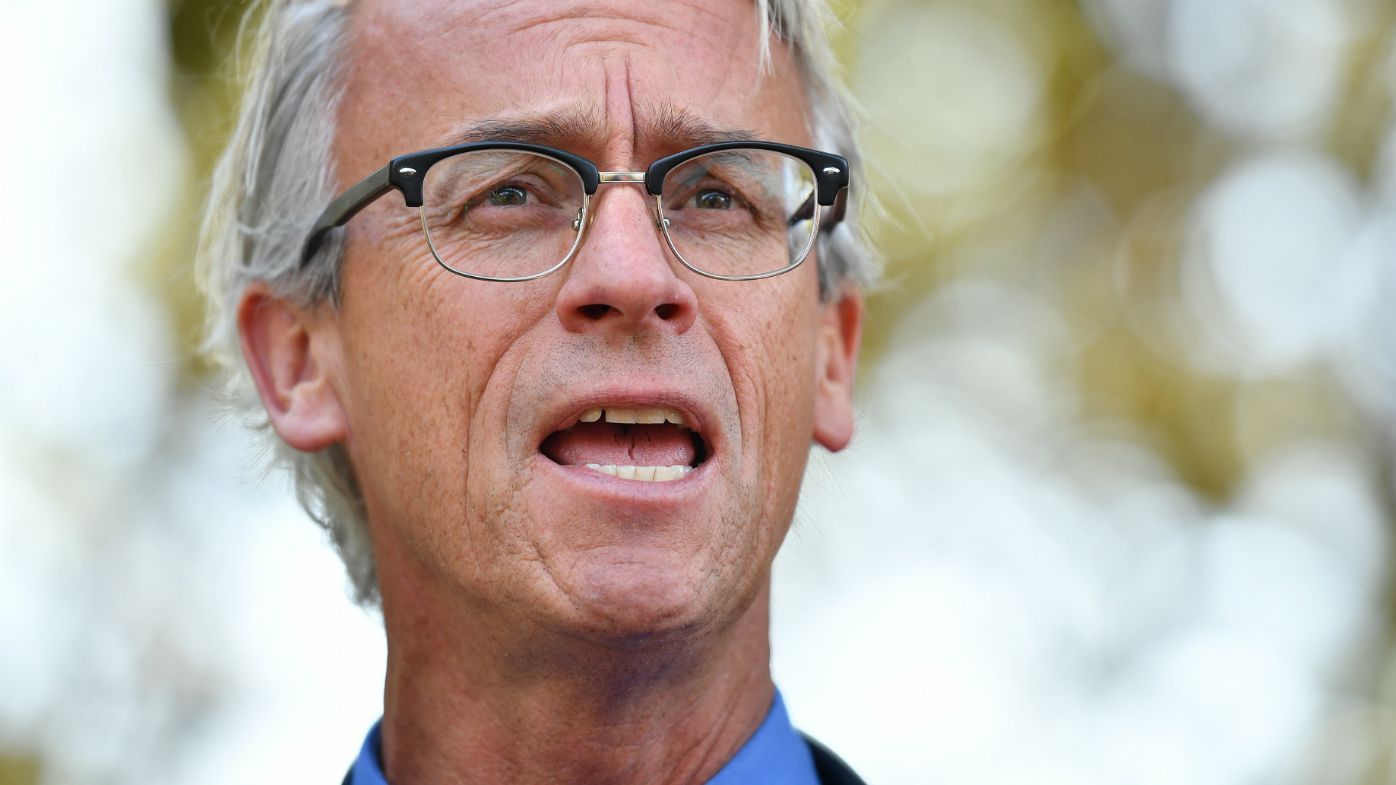 David Gallop speaks to the media