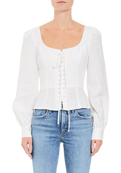 """<a href=""""http://https://www.tuchuzy.com/heidi-lace-up-linen-white-chosen-by-tuchuzy-cho-s18t01999wh"""" target=""""_blank"""" title=""""Chosen Piper Lace Up Linen Blouse, $179"""">Chosen Piper Lace Up Linen Blouse, $179</a>"""