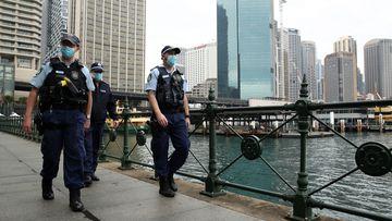NSW Police patrol in Sydney's Circular Quay.