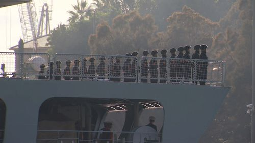 About 700 sailors are on board three vessels.