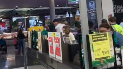 The alleged offender inside the Merrylands Woolworths store.