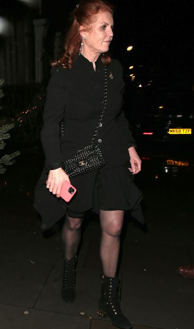 Sarah Ferguson Fergie at Princess Beatrice and Edoardo Mapelli Mozzi engagement party at Chiltern Firehouse London