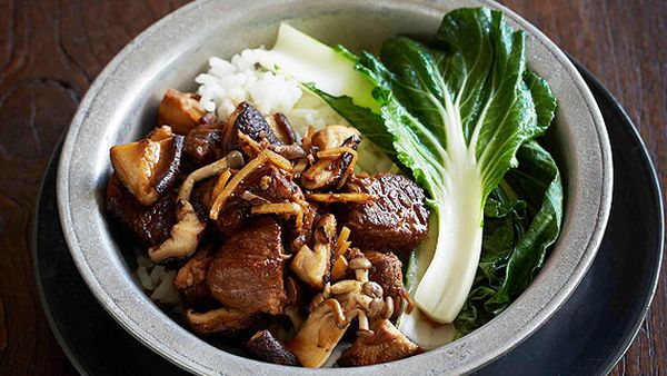 Black bean braised beef with Asian mushrooms and ginger