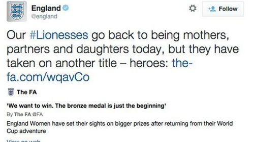 English FA in sexism row over Women's World Cup tweet