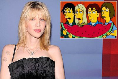 Homer makes friends with several then-big rock stars in season seven's 'Homerpalooza'. Courtney Love and her band Hole were asked to guest-star, but declined. <br/><br/>Luckily, acts including Peter Frampton, Cypress Hill, the Smashing Pumpkins and Sonic Youth (who were all pretty big deals at the time) all agreed to appear.