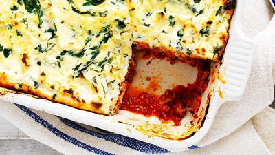"""<a href=""""http://kitchen.nine.com.au/2017/04/03/15/46/spinach-ricotta-and-mushroom-lasagne"""" target=""""_top"""">Spinach, ricotta, pork and mushroom lasagne</a><br /> <br /> <a href=""""http://kitchen.nine.com.au/2016/07/25/11/54/family-friendly-mince-recipes-that-arent-spag-bol"""" target=""""_top"""">More mince recipes that aren't spag bol</a>"""