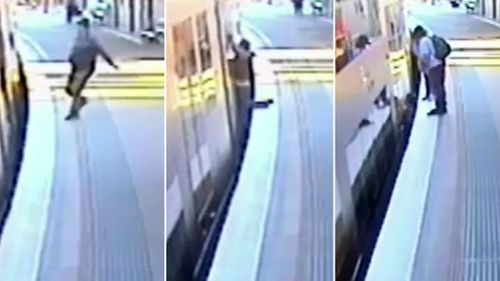 A commuter falls onto the tracks at Windsor station. (9NEWS)