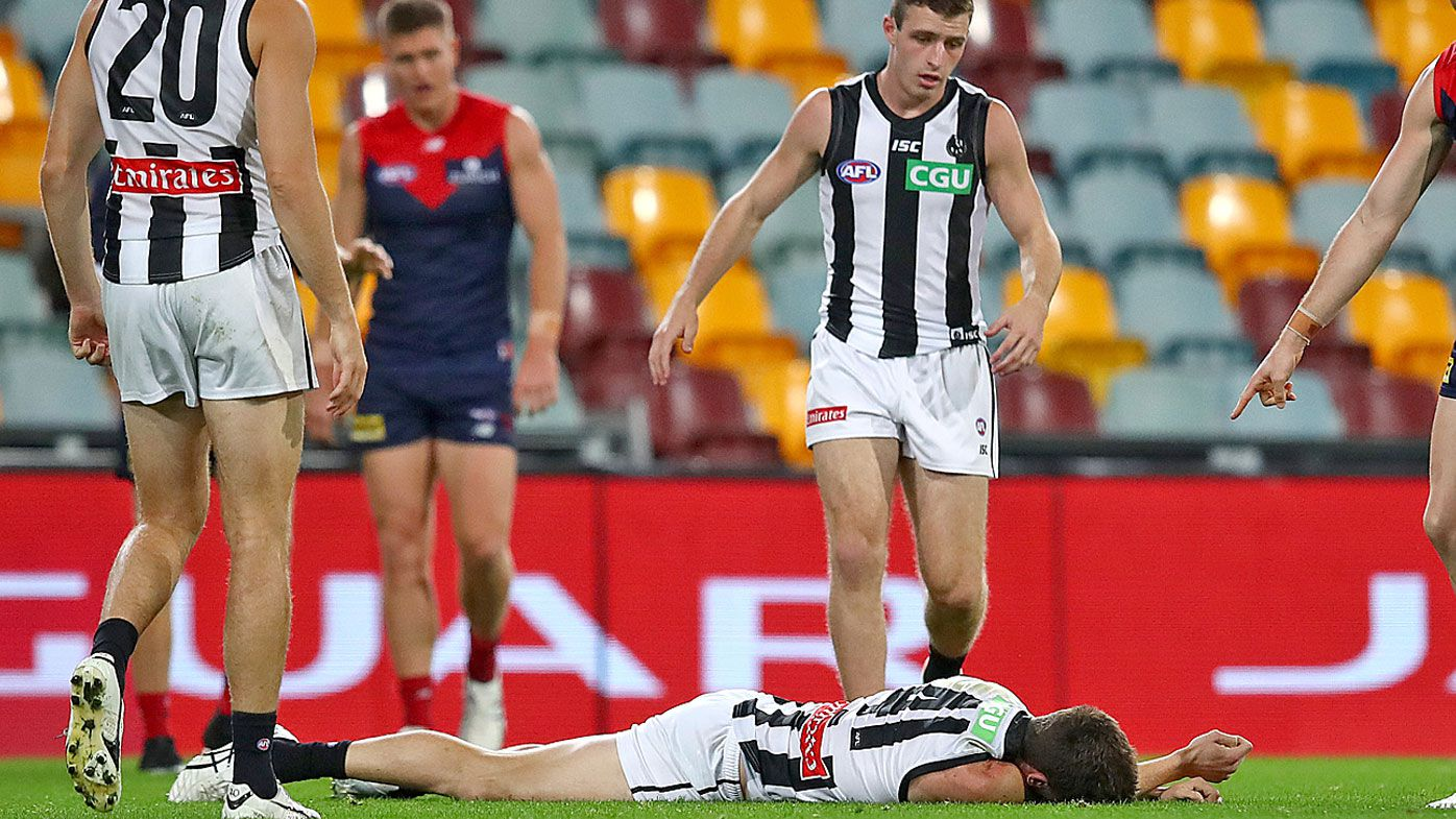 Melbourne Demons into top eight after win over Collingwood Magpies, Brody Mihocek stretchered off