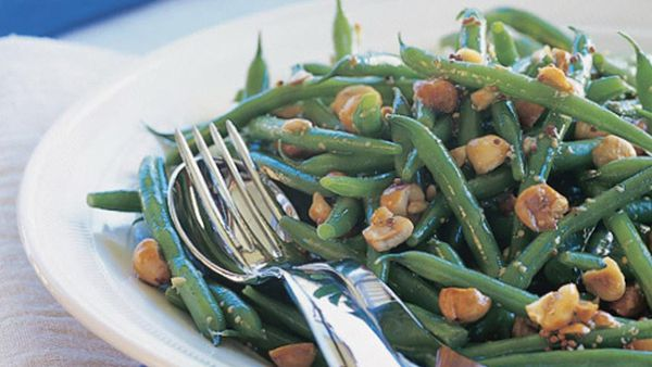 green bean and hazelnut