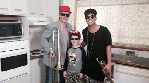 Russ and Toby Bauer with Timmy Trumpet. (Lauren Ellis, TODAY Show)
