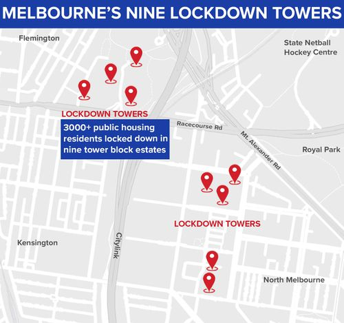 Map showing location of Melbourne towers in hard lockdown.