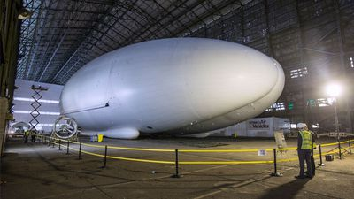 <p>The Airlander 10 will take to the skies above Bedfordshire in England once all its fins and engines are attached. (Getty Images)</p>