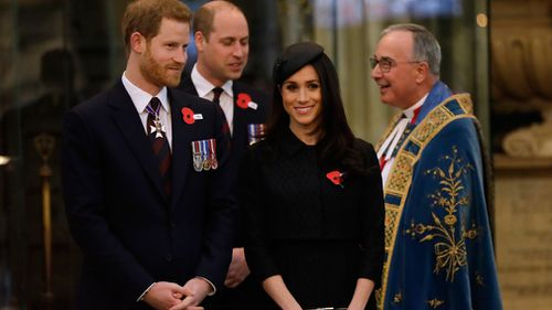 Prince Harry, Meghan Markle and Prince William. (PA/AAP)