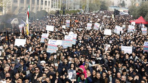 Thousands of Iranians take to the streets to mourn the death of Iranian Revolutionary Guards Corps (IRGC) Lieutenant general and commander of the Quds Force Qasem Soleimani during an anti-US demonstration