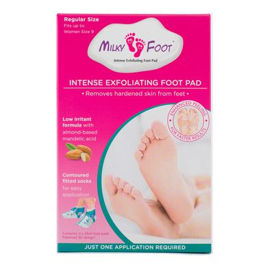 "<p>At-home pedicure that will leave your feet feeling silky smooth-&nbsp;<a href=""https://www.priceline.com.au/milky-foot-milky-foot-exfoliating-pads-1-pack"" target=""_blank"" draggable=""false"">Milky Foot Milky Foot Exfoliating Pads 1 Pack, $31.99</a></p> <p>&nbsp;</p> <p>DIY treatment that removes hardened skin from your feet in just one application.</p>"