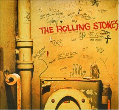 Someone at Mick 'n' Keef's record company thought a toilet was offensive, and whacked a sticker over this album cover.