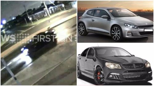 CCTV footage captured the rare 2015 Hyundai Club Sport Anniversary car (left) after it was stolen from the home in Essendon North, less than an hour after a Volkswagen was stolen from a home in Airport West. (9NEWS)