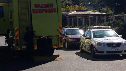 Police and a HAZMAT vehicles were stationed outside the Indonesian embassy in Canberra. (Supplied/ACT Police)