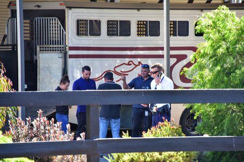 Investigators raiding Weir's stables in Ballarat last week.