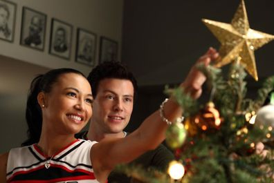 Cory Monteith and Naya Rivera on the set of Glee.