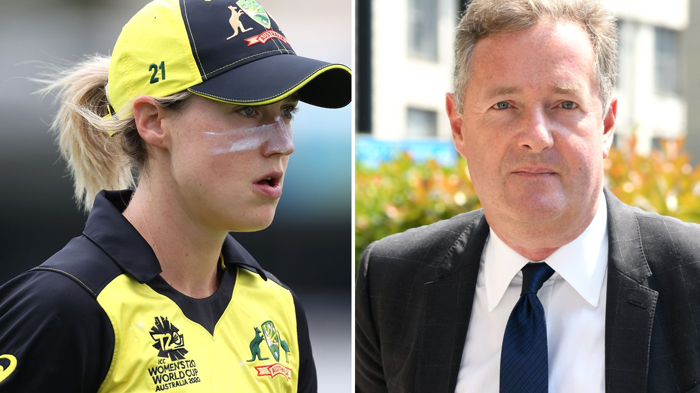 Star Australian all-rounder Ellyse Perry and Piers Morgan.