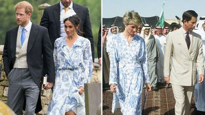 Prince Harry and Meghan Markle at a wedding, 2018; Prince Charles and Princess Diana in Saudi Arabia, 1986