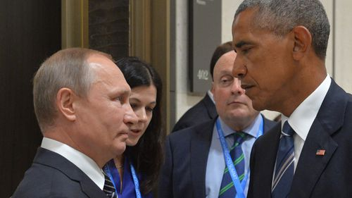 Russian President Vladimir Putin meets Barack Obama on the sidelines of the G20 Leaders Summit in 2016. Source: ALEXEI DRUZHININ / SPUTNIK / AFP