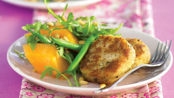 Rissoles with rockmelon salad