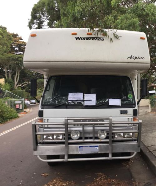 The Winnebago is parked in the leafy suburb of Mosman in Sydney's lower north shore. (Twitter)