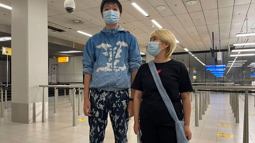 Before she was detained, Wu was on the run from the threat of being sent back to her home country because of her support of her fiance, Wang Jingyu - also pictured here - who is a perceived Chinese dissident.