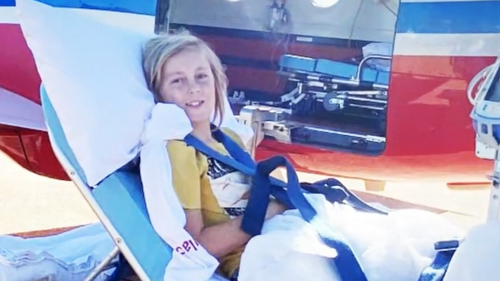 Still smiling, he was airlifted to Perth Hospital.