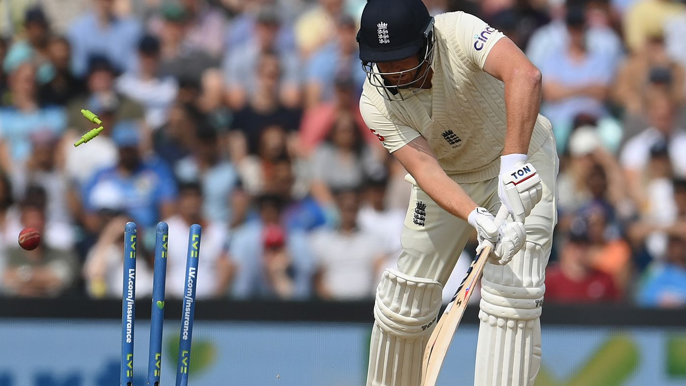 Jonny Bairstow is bowled for a duck on the final day of the fourth Test against India.