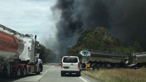 The national motorway was closed in both directions as emergency services responded to a truck fire (Supplied).