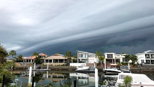 Large storms approaching South East Queensland this morning, pictured from Bribie Island.
