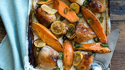 """Recipe:&nbsp;<a href=""""http://kitchen.nine.com.au/2016/05/17/10/03/honey-and-ginger-baked-chicken-with-kumara"""" target=""""_top"""">Honey and ginger baked chicken with kumara<br /> </a>"""