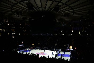 Madison Square Gardens is darkened as a tribute to the victims.