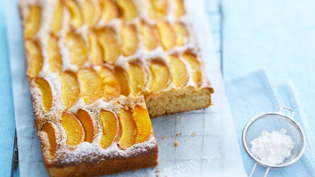 Apricot and plum coconut slice