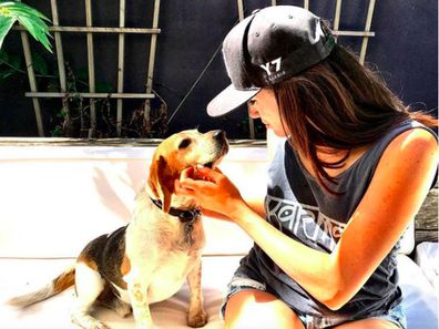 Meghan Markle with her dog Guy.